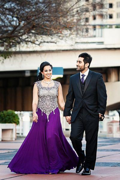 Indian Wedding Bride Purple Gold Lengha Indianwedding