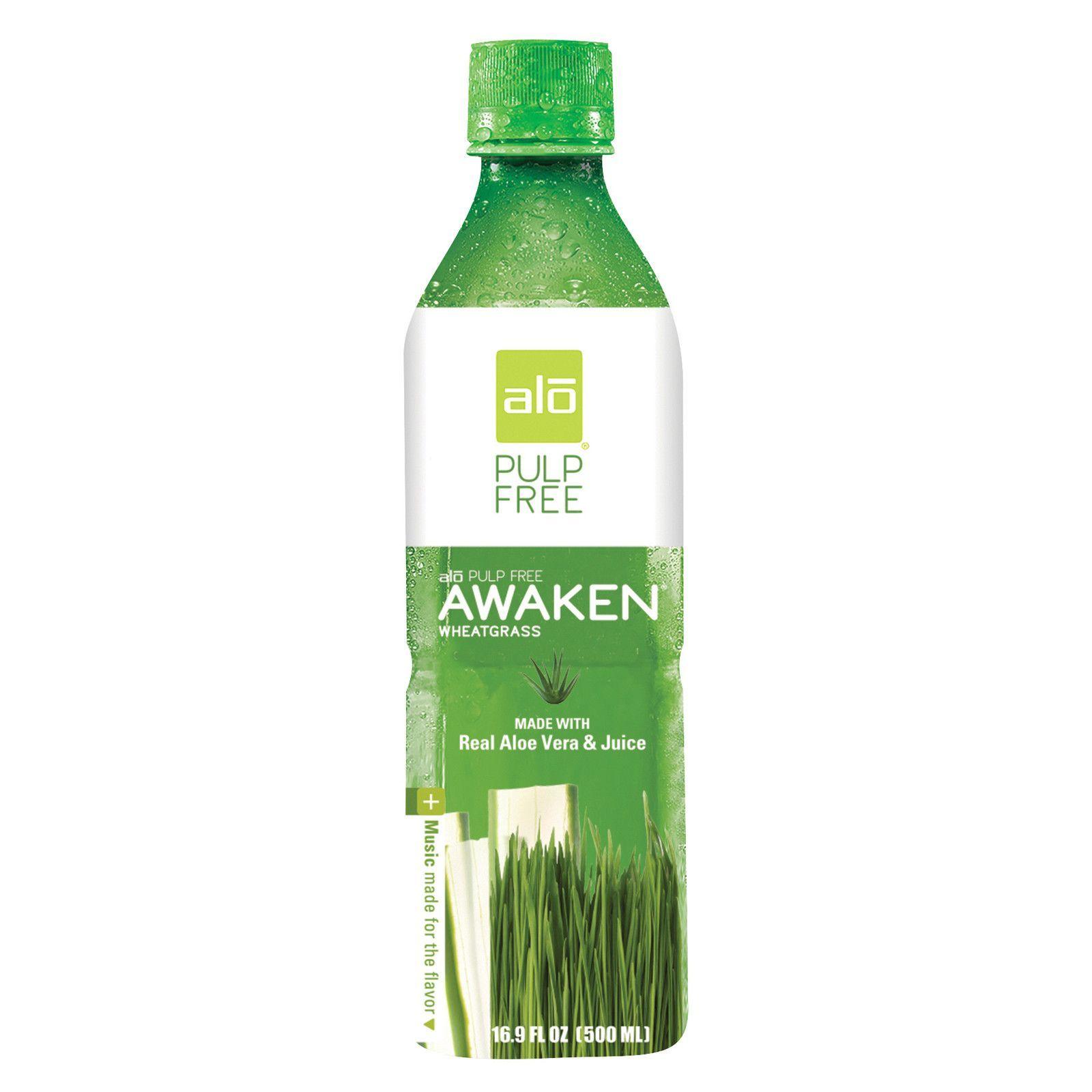 Alo pulp free awaken aloe vera juice drink wheatgrass