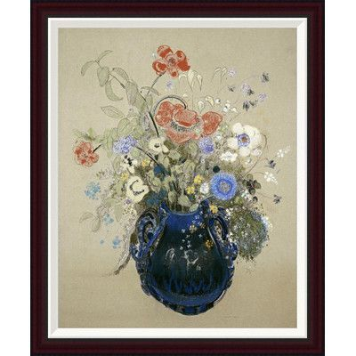 Global Gallery A Vase of Blue Flowers by Odilon Redon Framed Painting Print Size:
