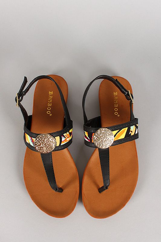 cf24c5aa888e Bamboo Paint Coin Ornament T-Strap Slingback Flat Sandal