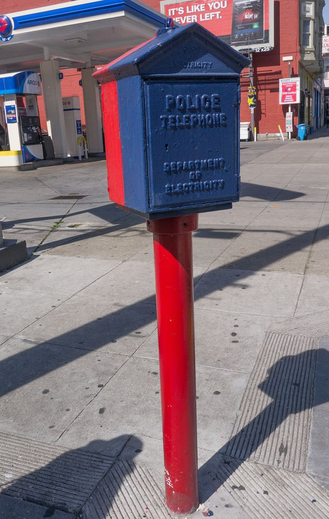 San Francisco Electric - Police Telephone and Fire Alarm pedestal - call box | Fire. Fire trucks. Telephone