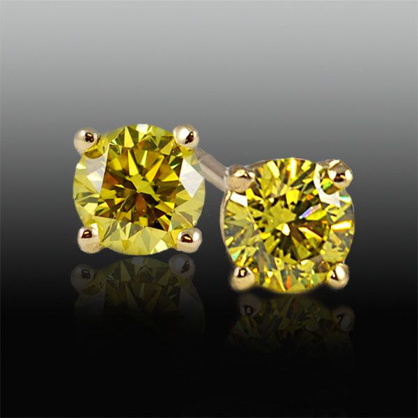 Small Yellow Diamond Earrings To Add A Splash Of Color And Go Along With The Gray Theme