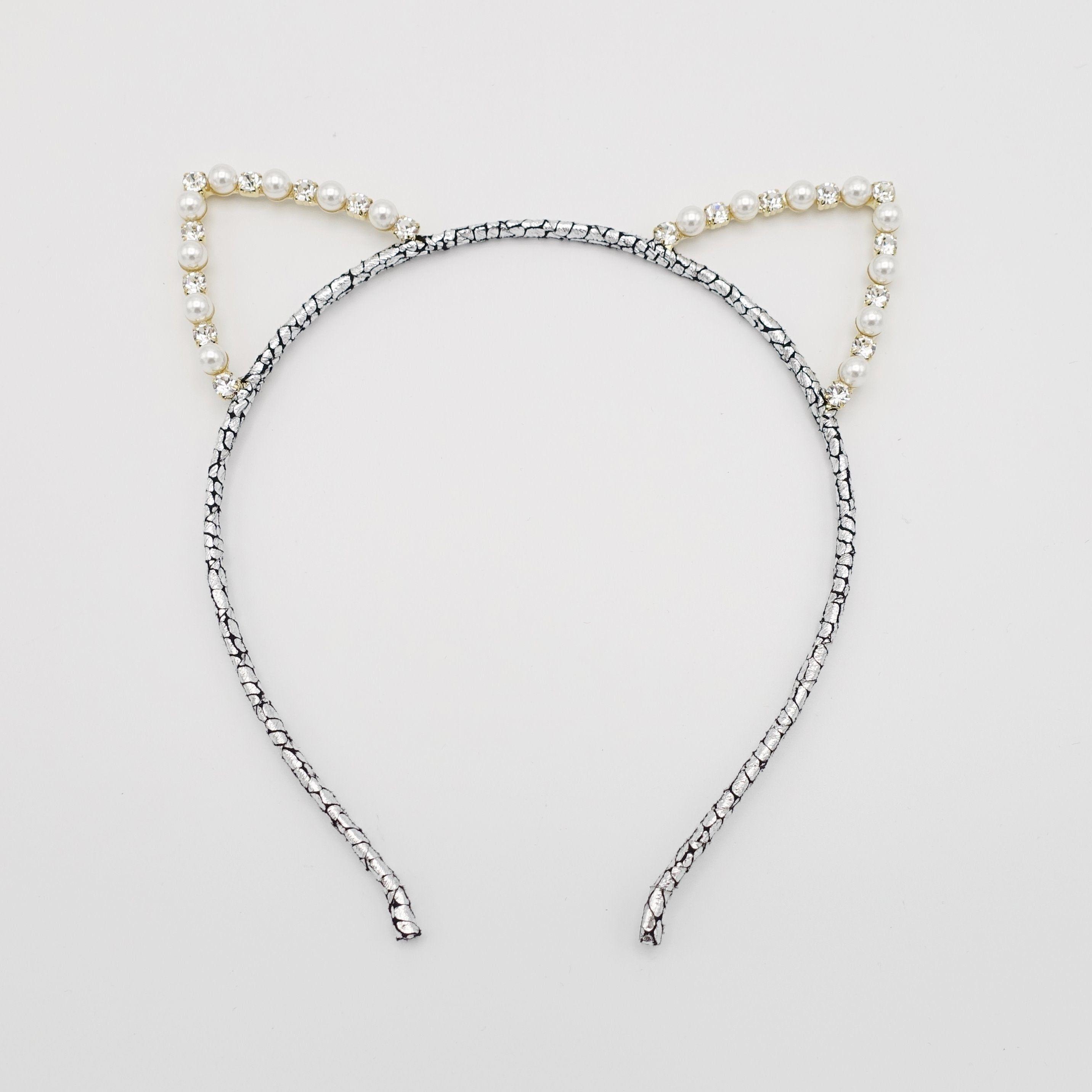 Cute Small Pearl Headband Women Cat Ear Hairband Hoops Girls Hair Accessories
