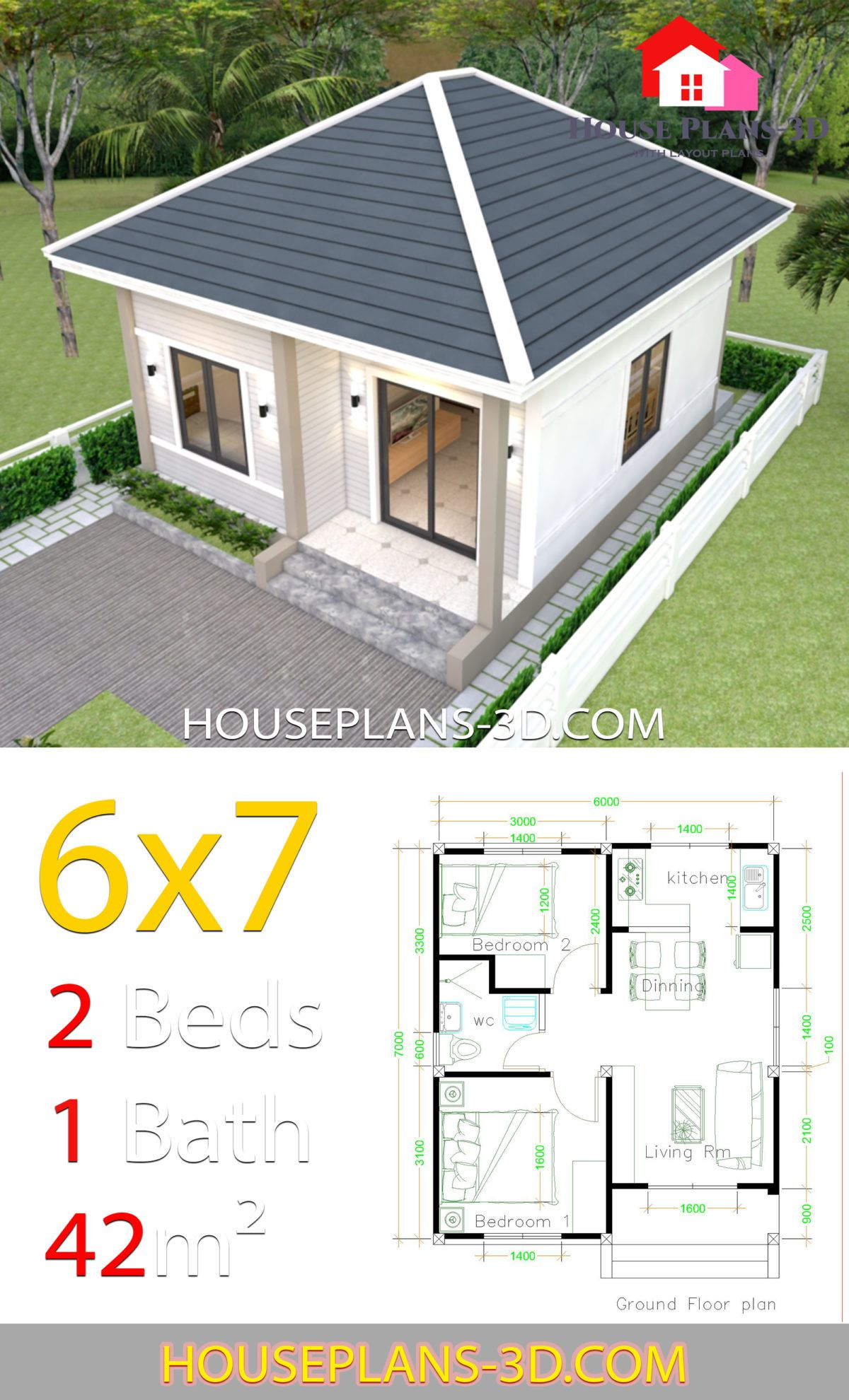 Simple House Plans 6x7 With 2 Bedrooms Hip Roof House Plans 3d Small House Design Plans Little House Plans Small House Design