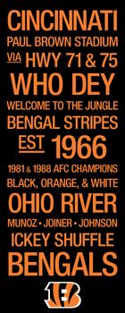Hot Cincinnati Bengals Subway Art with Logo Picture at Cincinnati