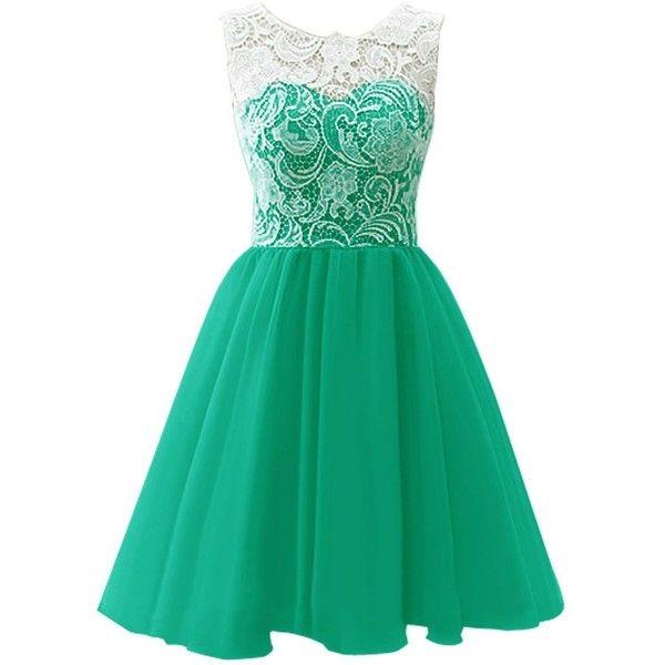 A Line Sleeveless Lace Green Chiffon Mini Short Homecoming Dress
