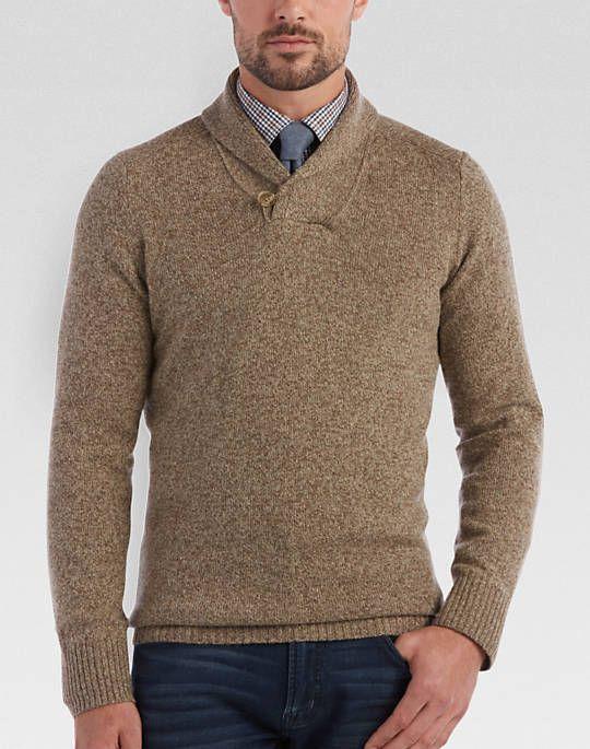 Joseph Abboud Tan Shawl Collar Modern Fit Sweater | 6M Writing ...