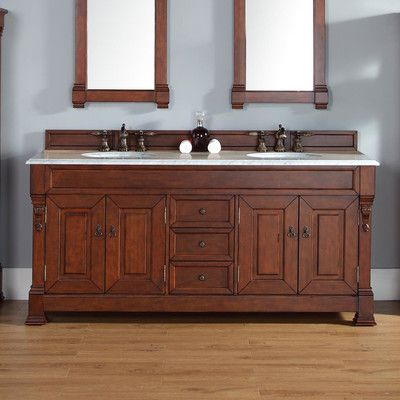 "Brookfield 72"" Double Warm Cherry Bathroom Vanity Set With Drawers Pleasing Cherry Bathroom Vanity 2018"