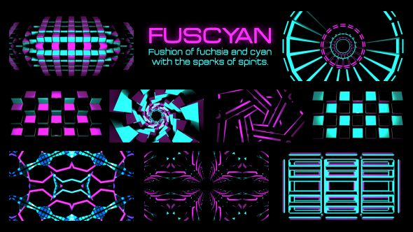 Please welcome, Fuscyan. Fushion of fuchsia and cyan with the sparks of spirits. Fuscyan beats faster than the heart. | 9 video loops | Full HD 1920×1080 | Looped | Photo JPEG | Can use for VJ, club, music perfomance, party, concert, presentation | #3d #abstract #blinking #cyan #dance #disco #flashing #flicker #fuchsia #fushion #looped #party #rave #strobe #vj