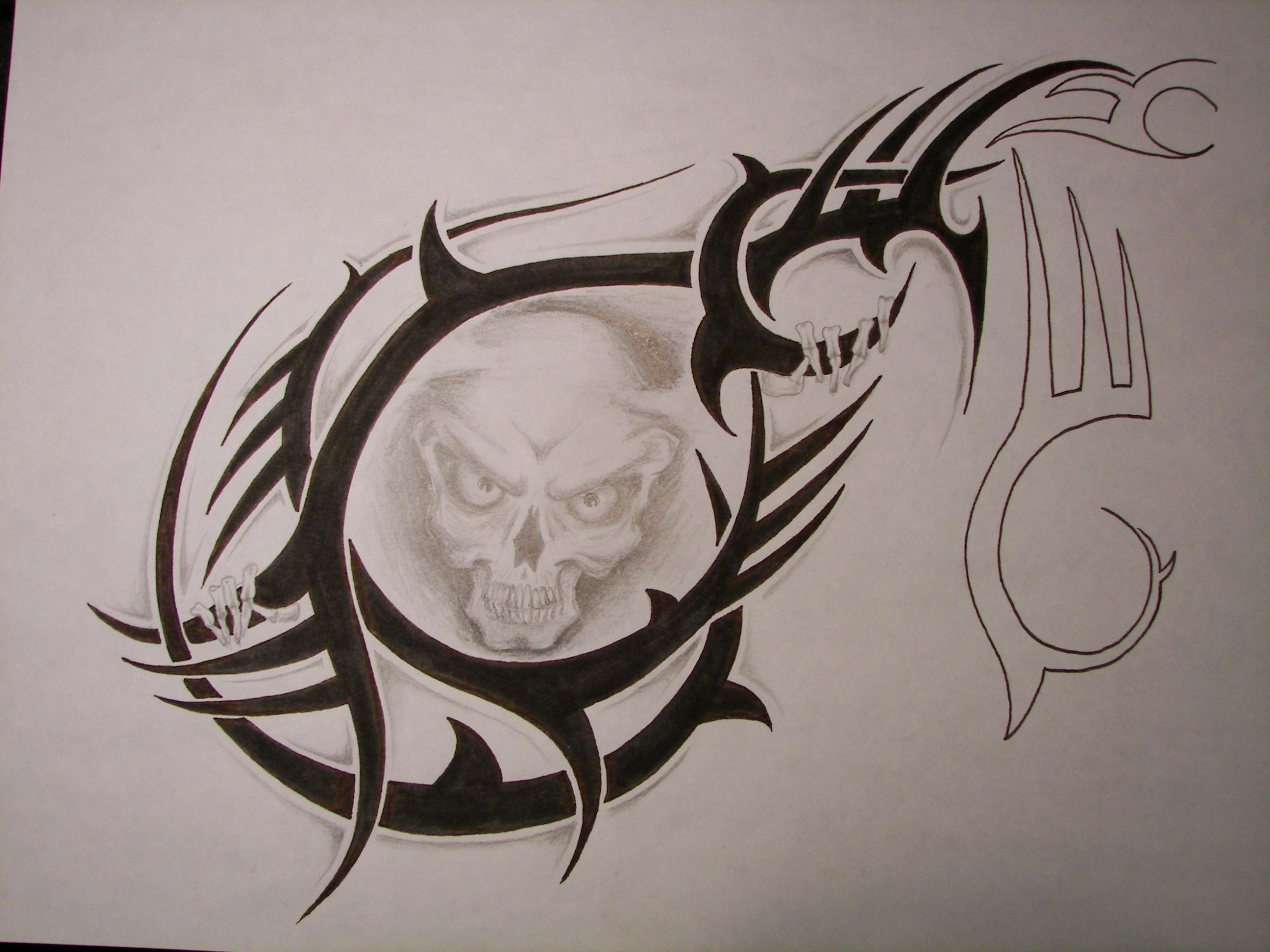 SKULL TRIBAL TATTOO DRAWING For Craig's Chest/shoulder