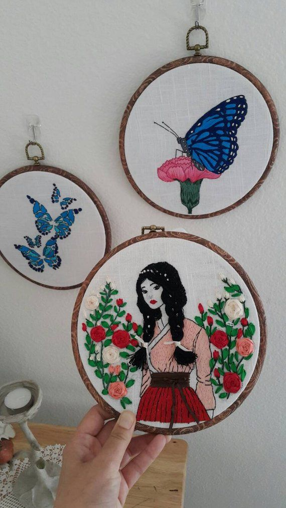 Girl and rose garden Handmade Embroidery - 8 inc - Modern Embroidery,gate embroidery with ...