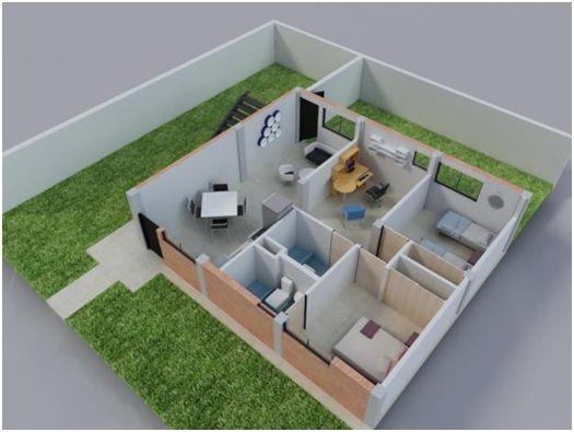 planos de casas pequenas 3d