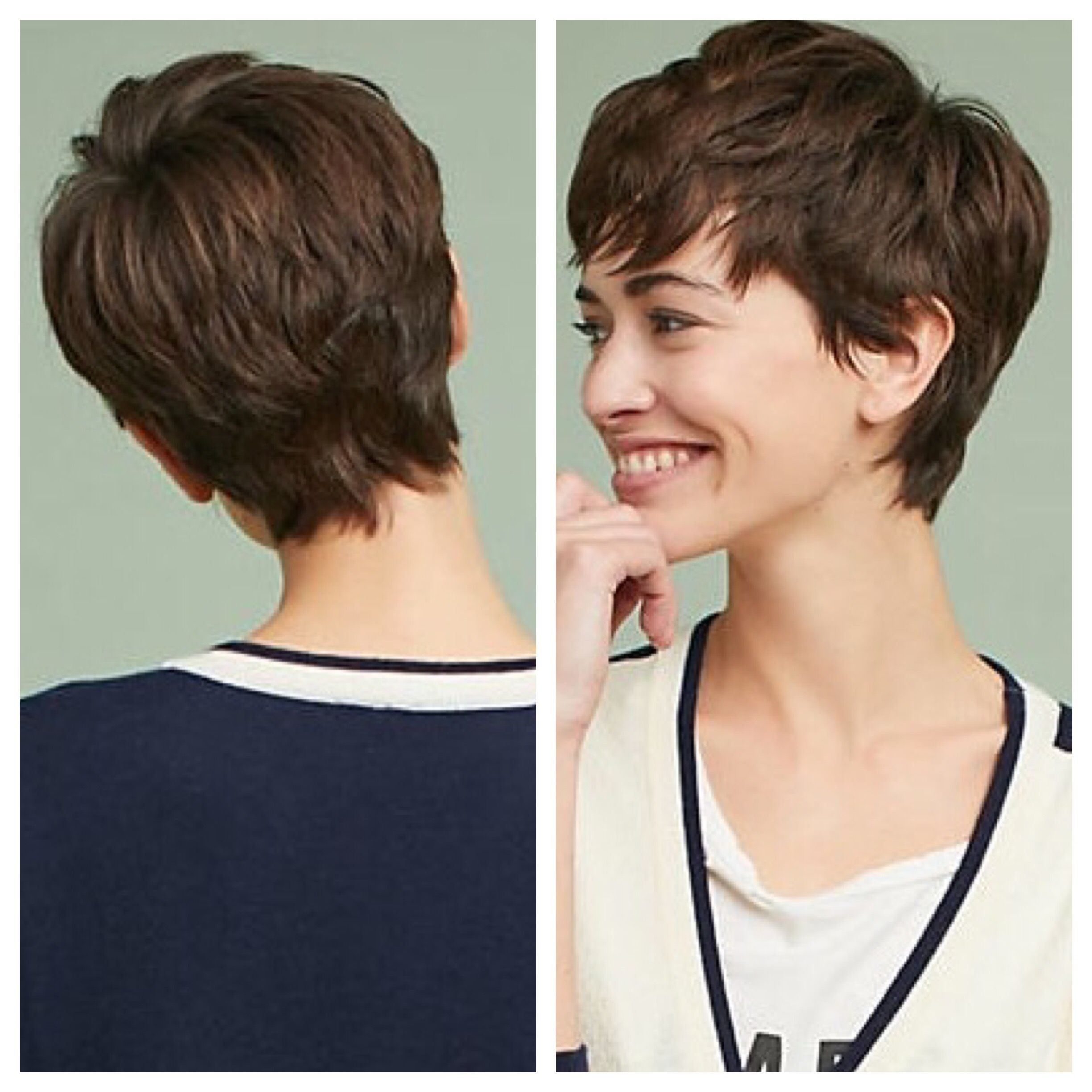 Textured thick short brunette pixie  Thick hair styles, Haircuts