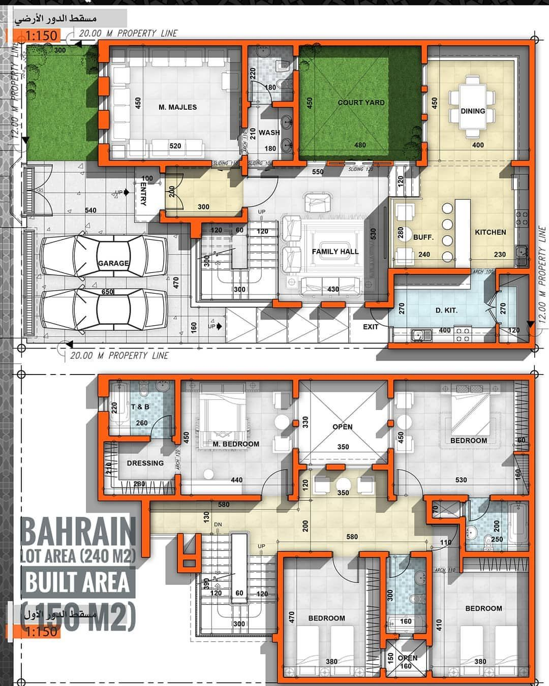 مخطط كل يوم مخطط فيلا مساحة الأرض 240 مساحة الدور الارضي 150 موقع المخطط البحرين الفكرة الرئيسية عمل كو Dream House House Floor Plans