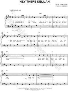 I Found Digital Sheet Music Easy Piano For Hey There Delilah By