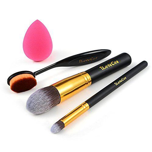 iLoveCos Makeup Brushes Set Blender Sponge Synthetic Kabuki Foundation Cosmetics Eyeliner Face Powder Toothbrush Oval Makeup Brush Kit ** Click image to review more details. (Note:Amazon affiliate link)