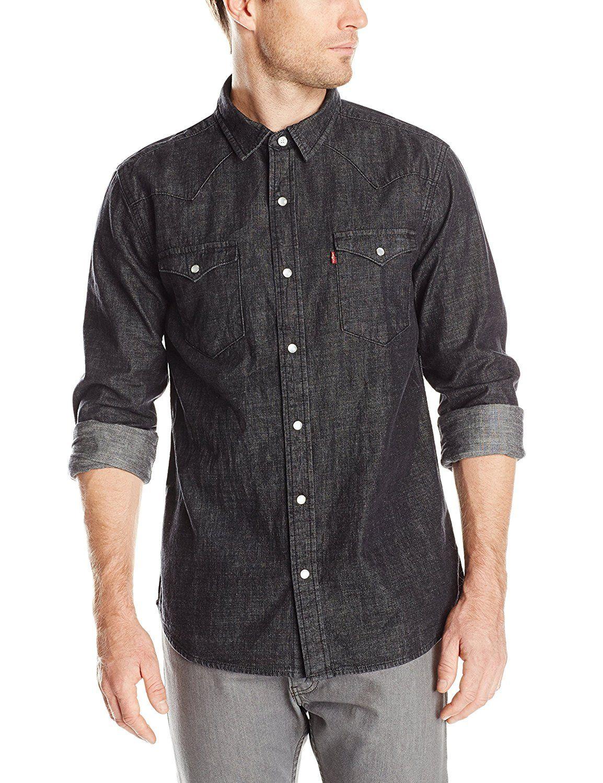 Levi S Men S Standard Barstow Denim Western Snap Up Shirt At Amazon Men S Clothing Store Denim Western Long Sleeve Denim Shirt Shirts