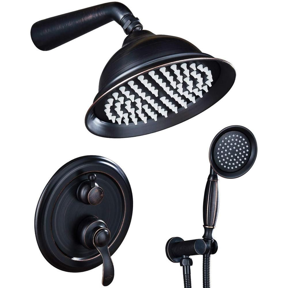Ello Allo 2 Handle 2 Spray Of Rain 8 In Round Shower Head Shower Faucet With Handheld Shower In Bronze Valve Included As Lb3508 The Home Depot In 2021 Shower Systems Shower Faucet Sets Shower Faucet Rain shower head oil rubbed bronze