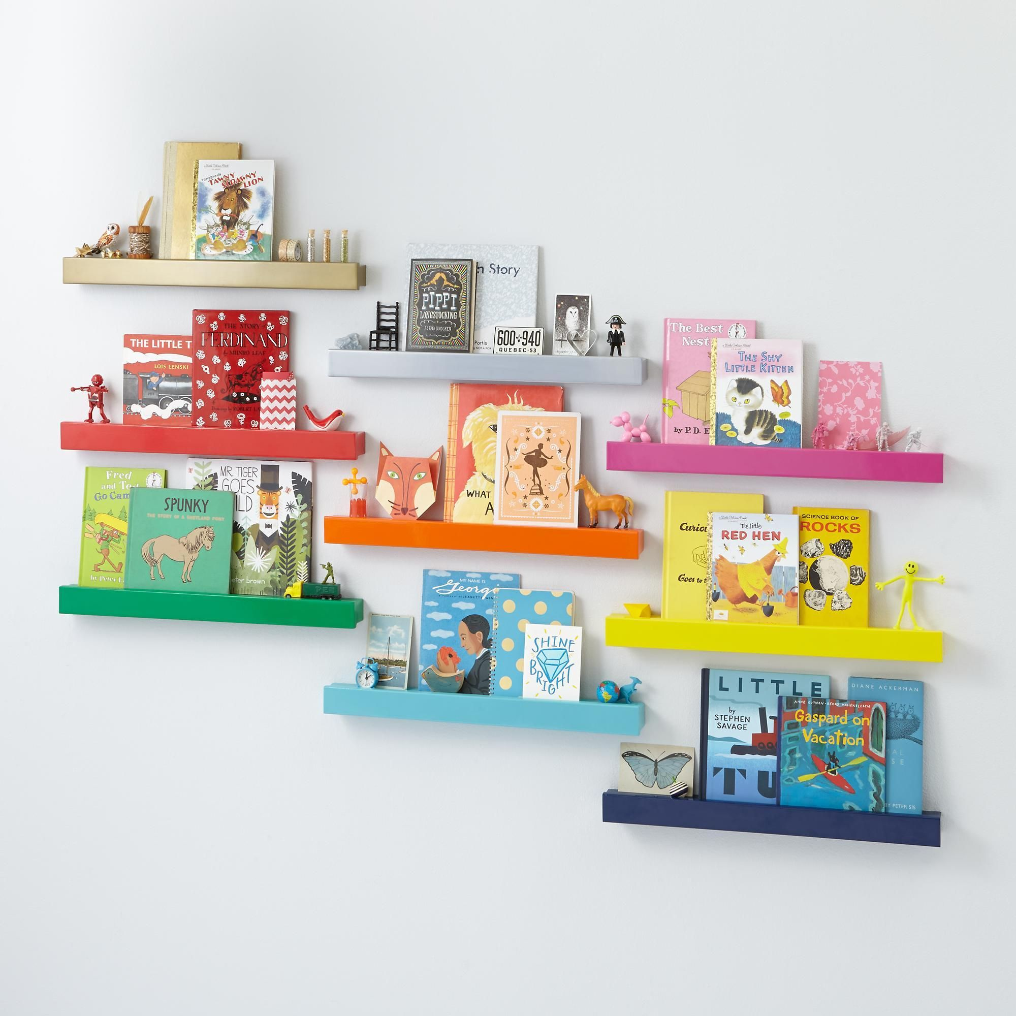 Color Bar Ledge Kids Shelves Wall Cubbies Modern Bookshelf