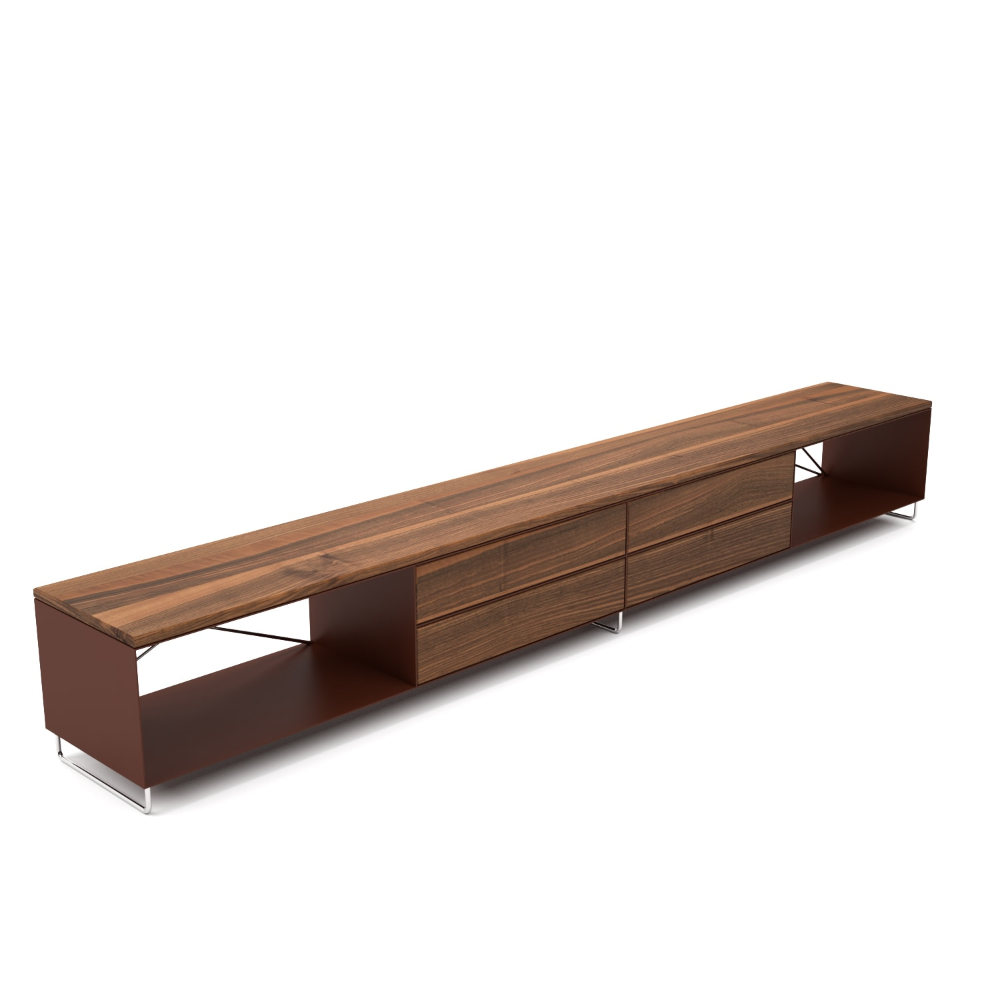 Lowboard pure mnmlsm l (Holz, Nussbaum, Metall, braun