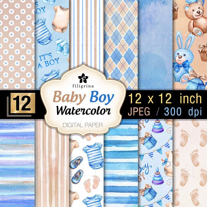 Lines Paper Baby Boy Blue Beige Digital Paperlines Toysfiligrinaart .