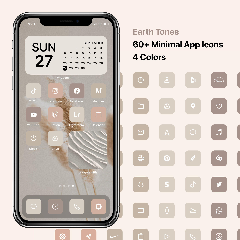 Ios 14 Minimal Icons Earth Tones Minimalist Icon Pack Apple Modern Icon Bundle 60 Icons In 2020
