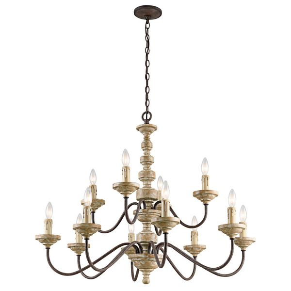 Kichler lighting briellis collection 12 light vintage weathered white chandelier