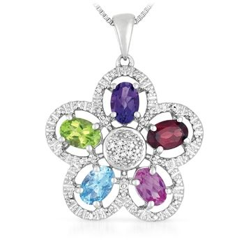 Genuine Multicolor Gemstone And Diamond Pendant Necklace