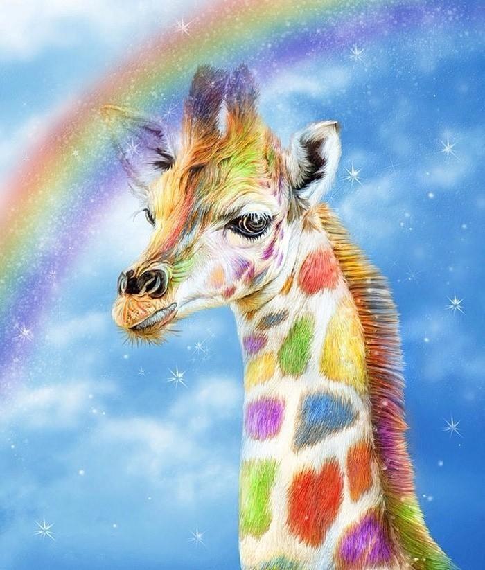 5d diy diamond painting cartoon rainbow giraffe