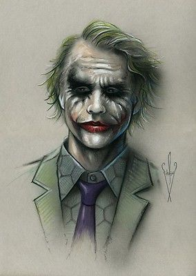 Joker Drawing 12 X 18 Heath Ledger Batman The Dark Knight Rises Artwork Drawings Direct From The Artist Joker Drawings Joker Art Drawing Joker Artwork