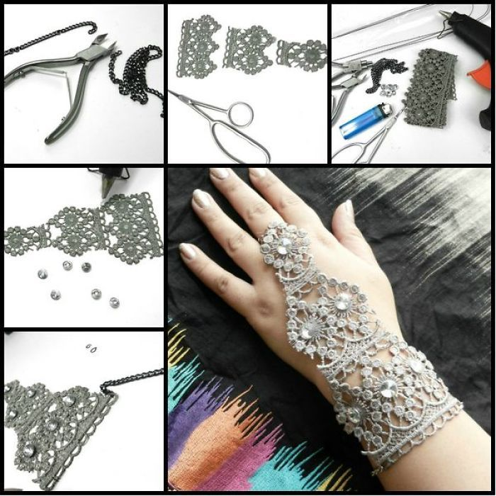 Diy Handmade Lace Bracelet With Ring Complete Tutorial Lace Diy Handmade Lace Lace Bracelet