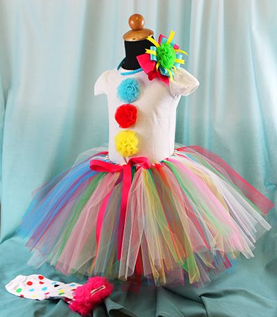 GIRLS RAINBOW CLOWN Costume Skirt or BOW TIE Halloween FANCY DRESS Jester Circus