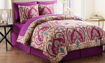 With comforters, sheets, pillow cases, and bedskirts, these bed-in-a-bag sets contain all the pieces you need to give your bed a fresh look