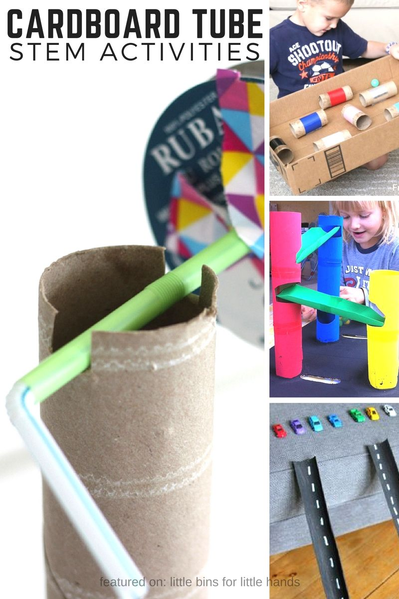 Cardboard tube STEM activities and cardboard STEM challenges for kids. Recycled STEM projects also great for Earth Day activities.