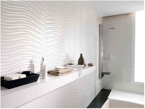 black and white 02 undulating white tile by qatar nacar squeaky clean 10 stunning - Modern Bathroom Tile Designs
