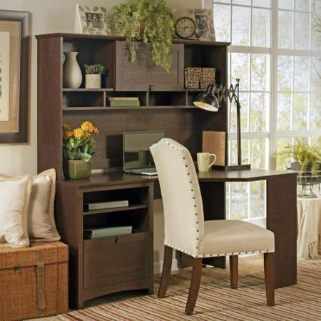 Bush Furniture Buena Vista 60 in. Corner Desk with Hutch - Madison Cherry - Walmart.com