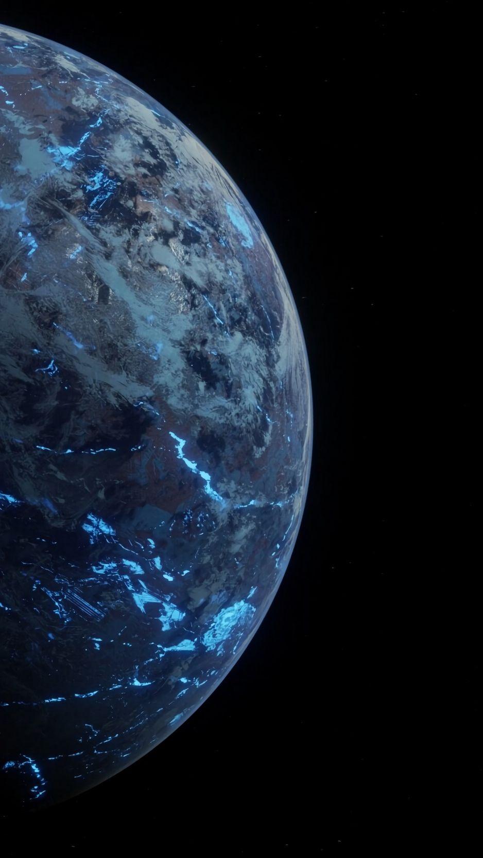 Скачать 938x1668 планета, сфера, поверхность, космос, темный обои, картинки iphone 8/7/6s/6 for parallax
