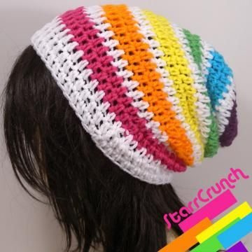 Slouchy Beanie in Rainbow and White by StarrCrunch for $18.00
