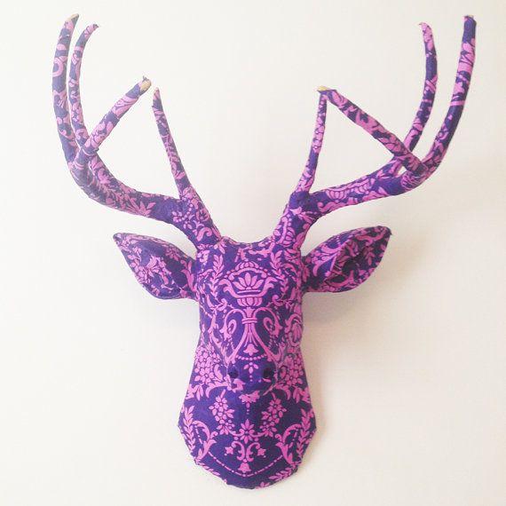 Purple And Pink Damask Deer Head Wall Mount With Images Deer Heads Wall Pink Damask Deer Head Wall Mount