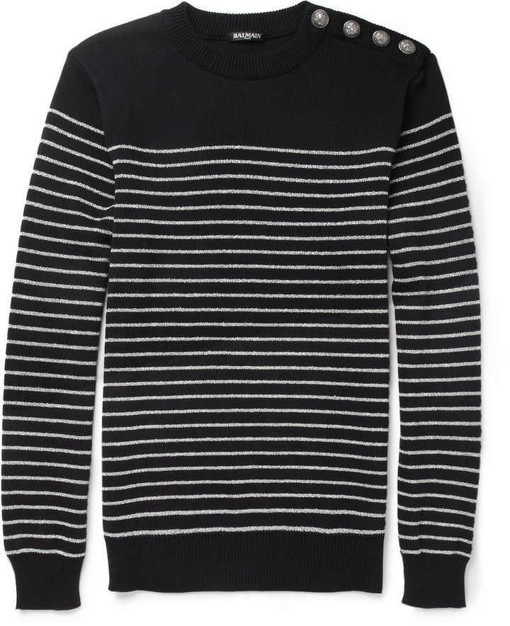d4e243a73 Balmain Metallic-Striped Cotton Sweater on shopstyle.com