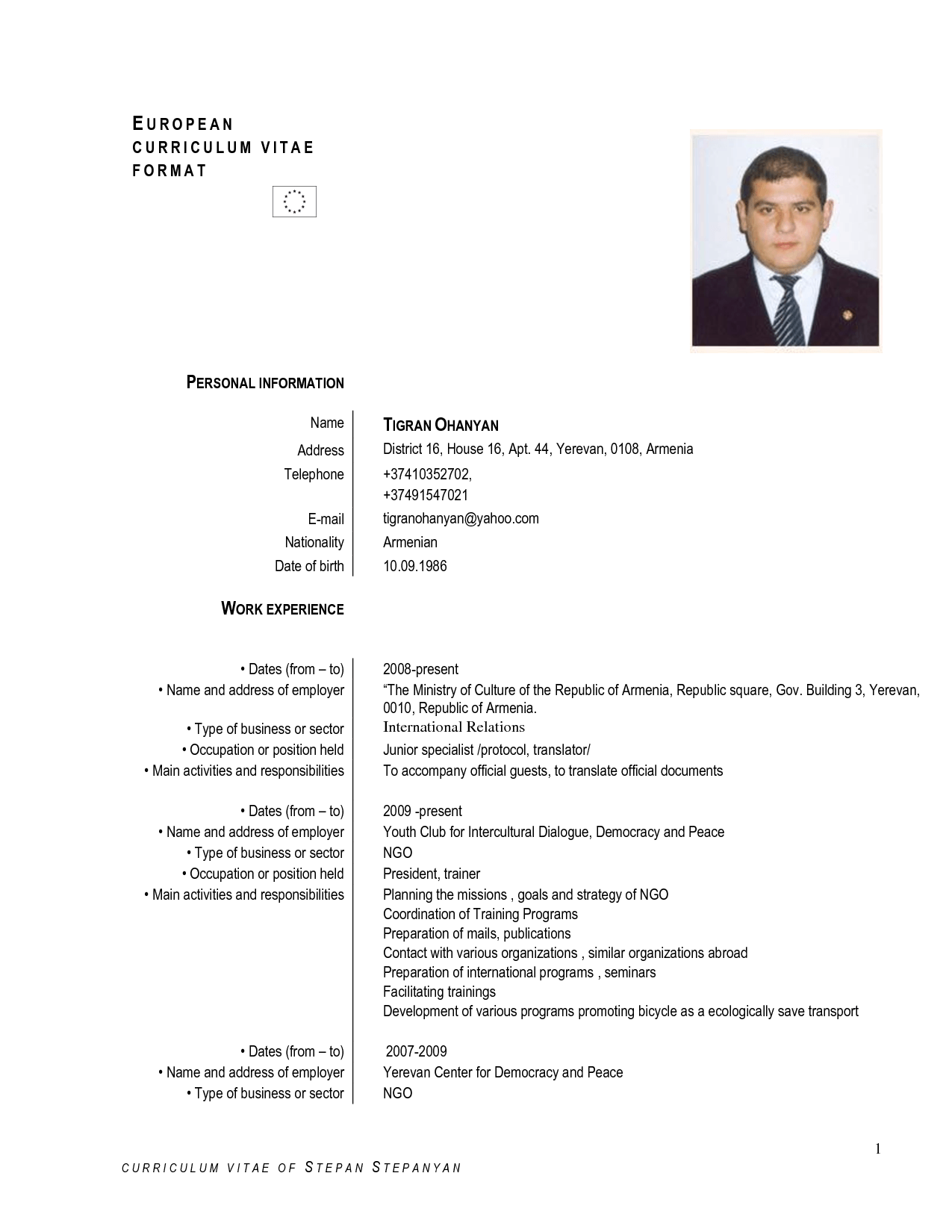 Europass Cv English Example Doc Cv Examples Europass English Cv