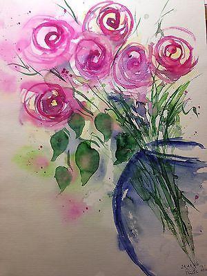 """Aquarell , """" Rosenstrauß  """" , Blumen , 30 x 40 cm , Unikat"""