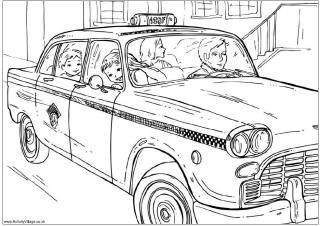 New York Taxi Colouring Page