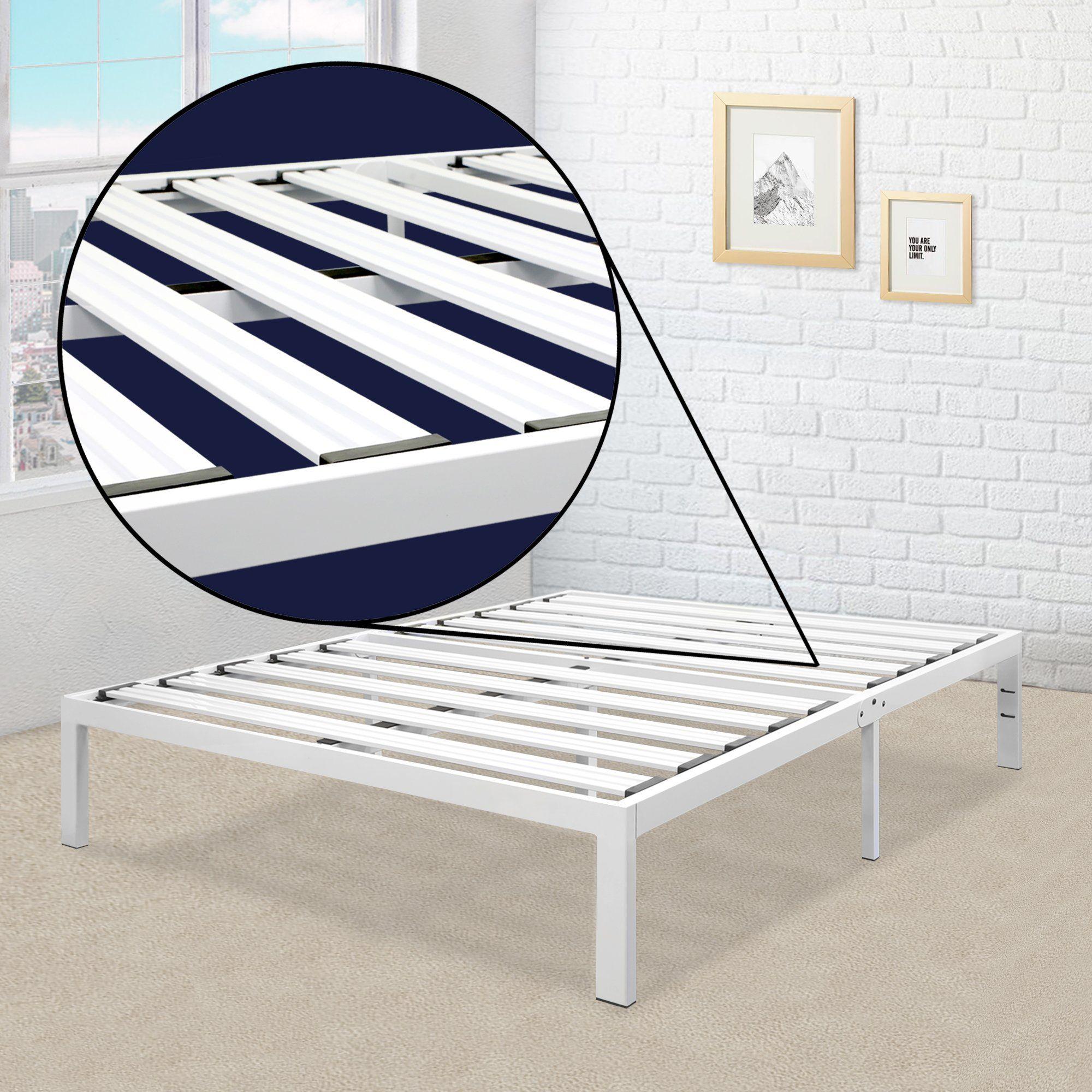 Best Price Mattress Model E Heavy Duty Steel Slat Platform Bed White ...