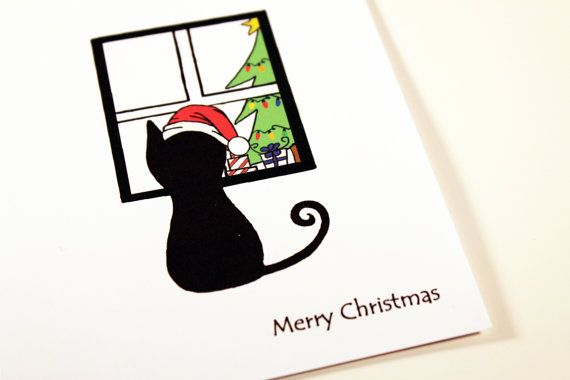 Coolmathgames Com Christmas Ornaments: Christmas Cat 8 Pack Of Cards With Santa Hat. Cute Cat