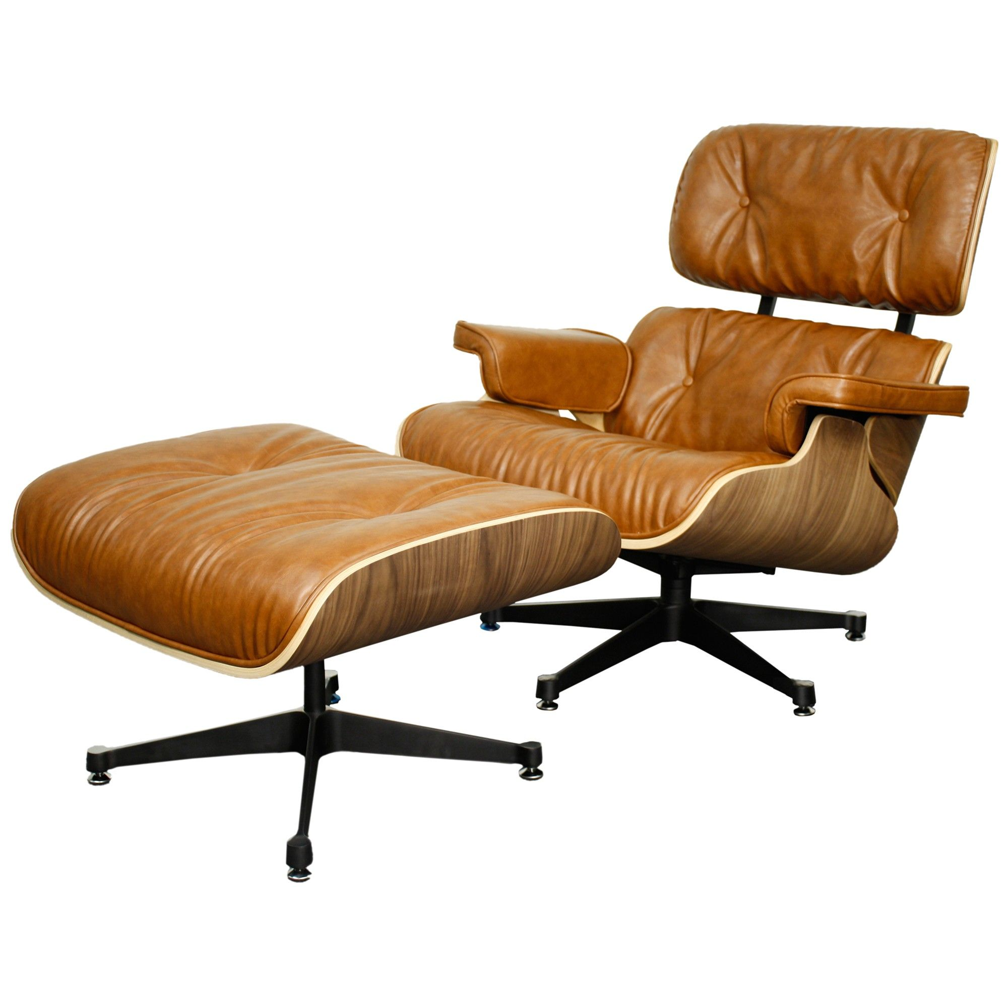 Fauteuils Pride Midcentury Lounge Chair And Ottoman Caramel Walnut Brass