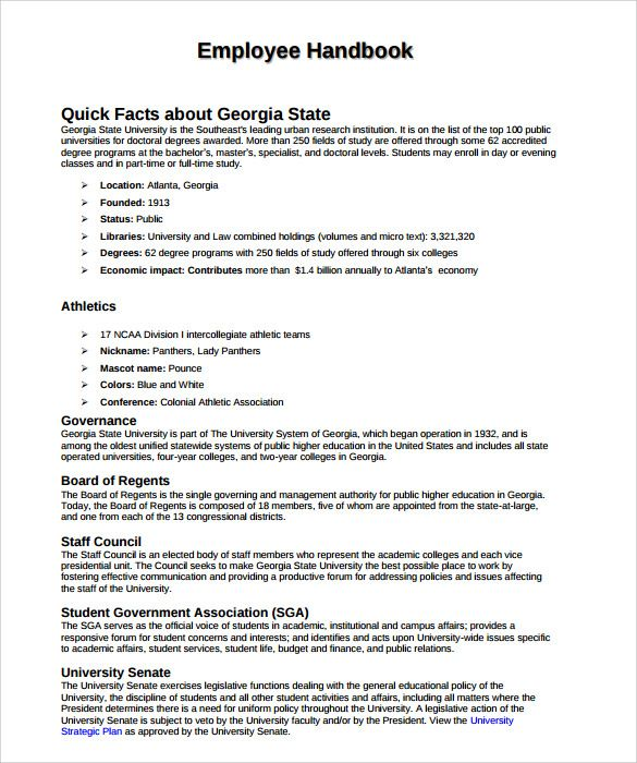 Employee Handbook Sample Check more at   - athletic resume template