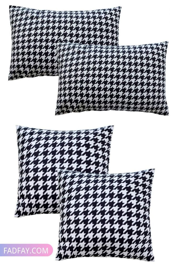 Gray Houndstooth Pillow Cover Throw