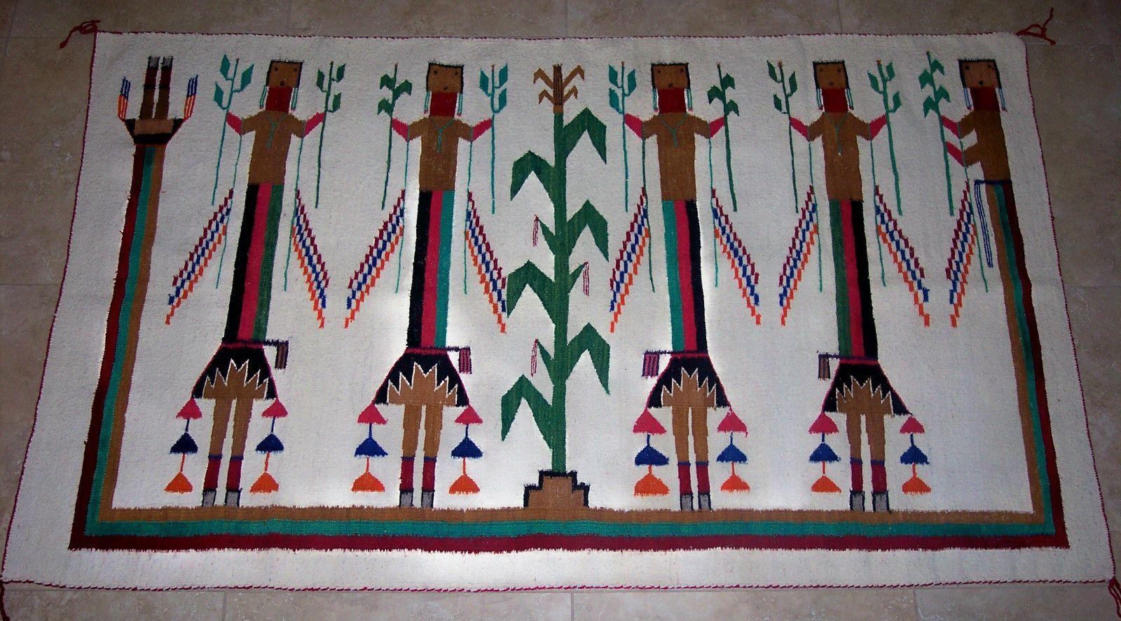 Incredible 1950s Navajo Rainbow Yei Rug40 X 65navaho Blanket