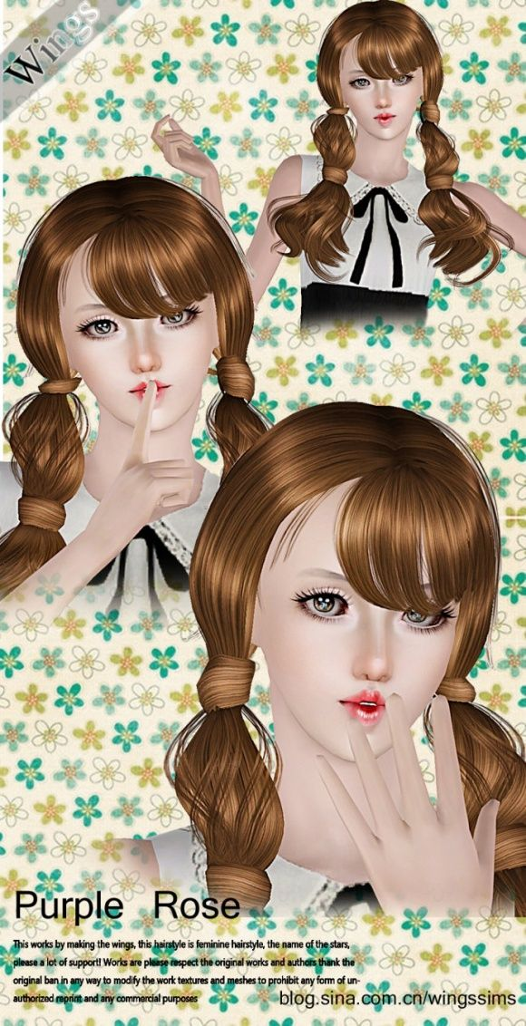 This purple rose hair is perfect for Sim 3 /PC For a Fairy